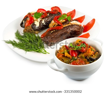 isolated image of baked eggplant and stew on a white background close-up - stock photo