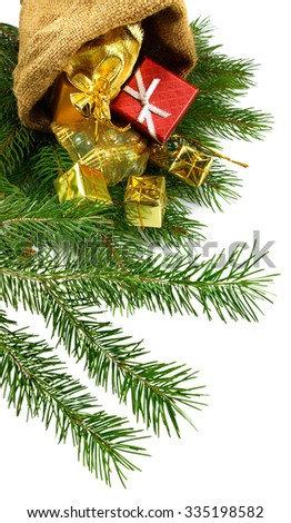 Isolated image of boxes and fir branches Christmas