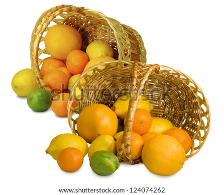 Isolated image of citrus fruits in two basket on a white background - stock photo