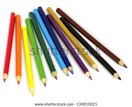 Isolated image of colored pencils on white background