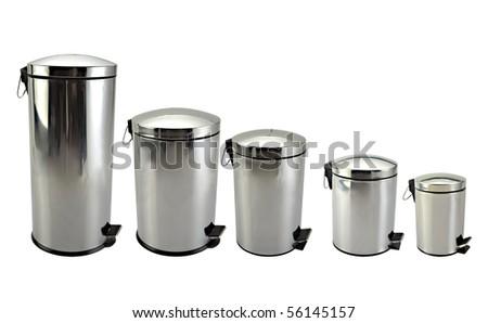 Isolated image of Five rubbish bin - stock photo