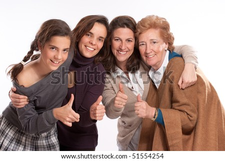 Isolated image of for women of different generations happy and with thumbs up - stock photo