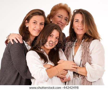 Isolated image of four women of different generations - stock photo