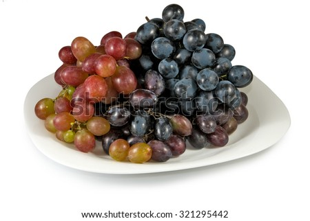 Isolated image of grapes on a plate closeup