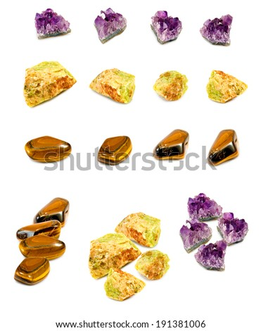 Isolated image of mineral opal, amethyst and tiger eye - stock photo