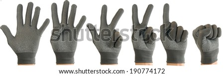 isolated image of one to five fingers hand in glove on white background