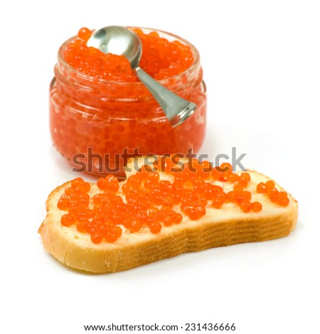 Isolated image of red caviar