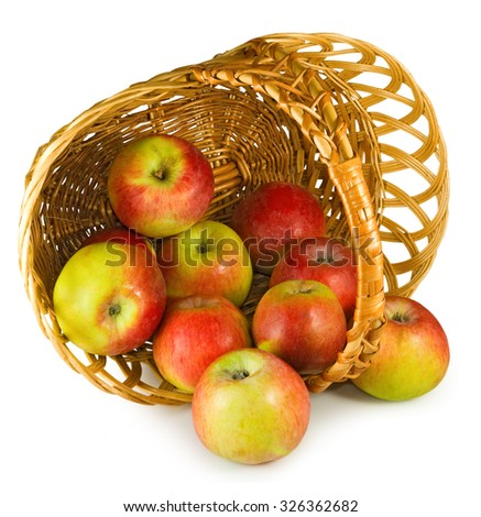 Isolated image of ripe apples close-up - stock photo