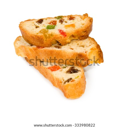 Isolated image of rusks with candied fruit on a white background close-up - stock photo
