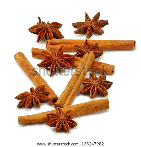 Isolated image of star anise and cinnamon sticks on white background