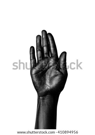 Isolated image of the open hand painted in shiny black color on a white background - stock photo