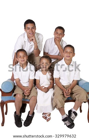 Isolated Image of Three Brothers and a Sister