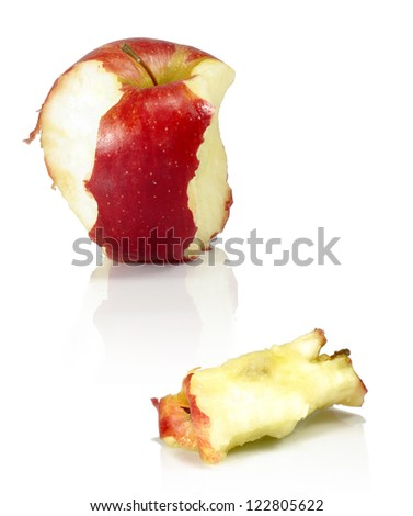 Isolated image of two bitten apples on a white background - stock photo