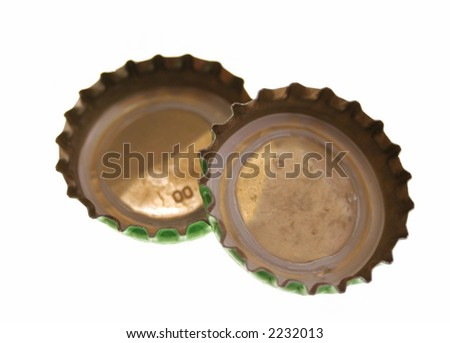 isolated image of two bottle lids together