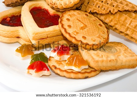 Isolated image of various delicious cookies - stock photo