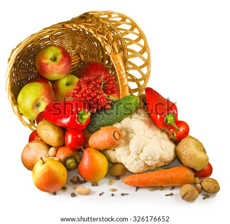 Isolated image of various vegetables in a basket closeup - stock photo