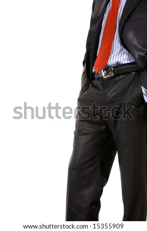 Isolated image on a businessman in black suit and red necktie. - stock photo