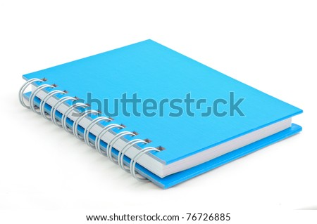 Isolated incline blue note book - stock photo