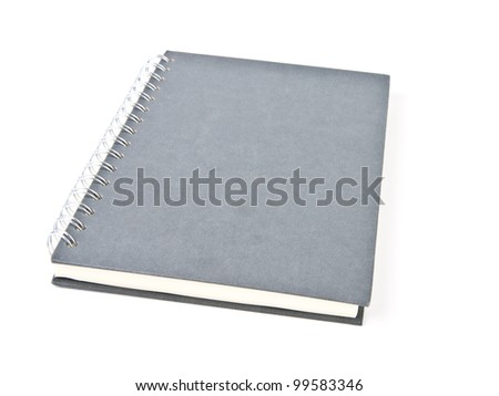 Isolated incline gray note book on white background.