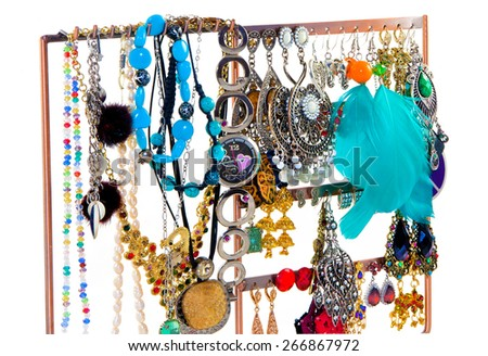 isolated Indian beautiful jewelry on a white background - stock photo