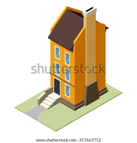Isolated isomatic small house icon with backyard. Graphic illustration