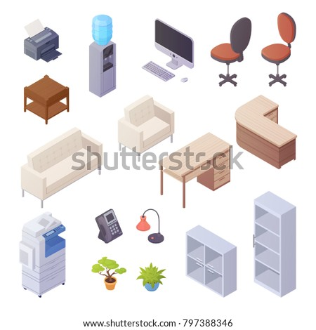 Isolated isometric elements of office interior with desk cooler chairs computer sofa printer book shelves 3d  illustration