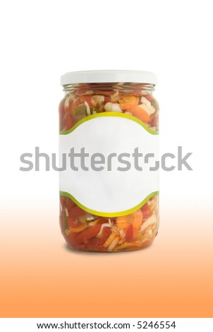 Isolated jar with salad, Path included - stock photo
