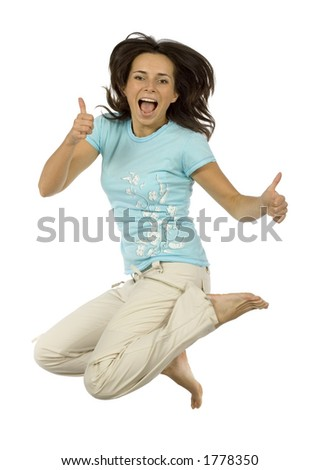 isolated jumping happy woman - stock photo