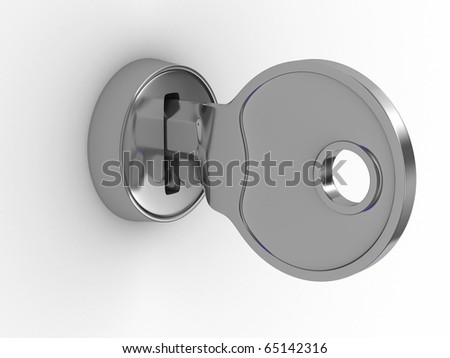 Isolated key and lock on white background. 3D image - stock photo