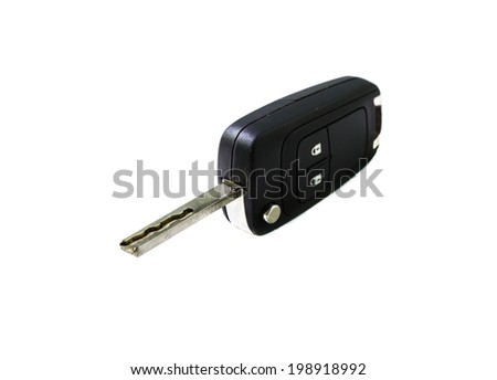 isolated key car on white background - stock photo