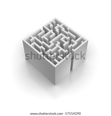 Isolated labyrinth with reflection. 3d rendered illustration. - stock photo