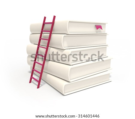 Isolated ladder and stack of white books with soft shadow on clean white background - stock photo