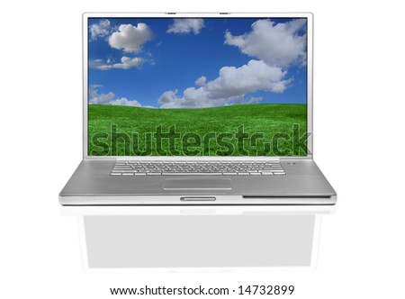 Isolated Laptop Computer With Landscape Screen Desktop Image - stock photo