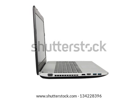 isolated laptop in white background - stock photo