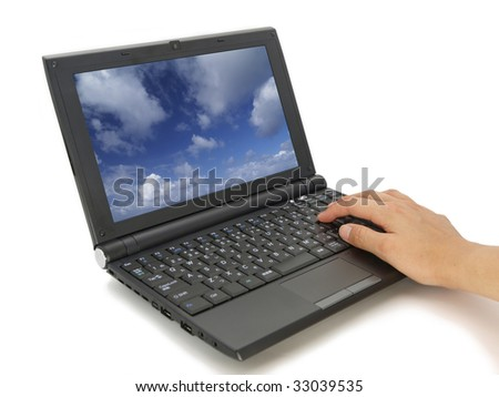 Isolated laptop PC and hand