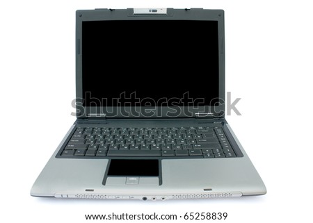 isolated laptop with a black monitor on a white background