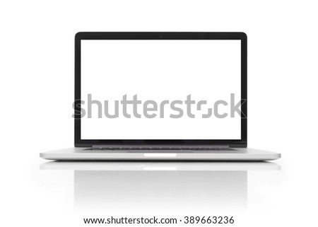 isolated laptop with blank space on white background - stock photo