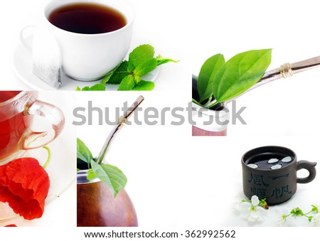 Isolated Leather Mate Cup with Straw and yerba green leafs  - stock photo