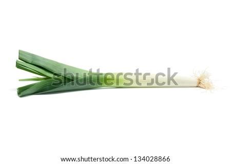 Isolated leek or field garlic on white background. - stock photo