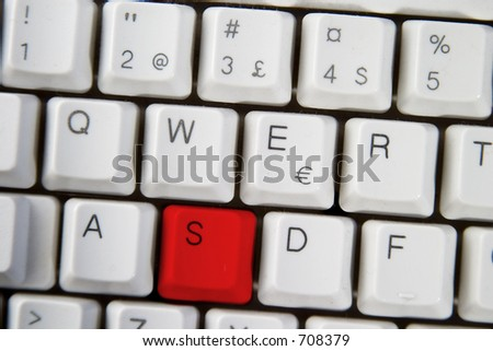 Isolated letter S on from a computer desktop keyboard highlighted in RED