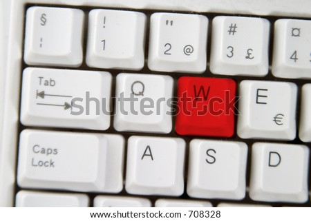 Isolated letter W on from a computer desktop keyboard highlighted in RED