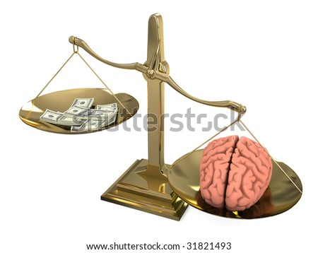 isolated libra with brain and moneys - stock photo