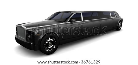 Isolated limousine on white - stock photo