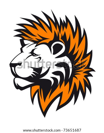 Isolated lion head as a symbol or tattoo - also as emblem. Vector version also available in gallery - stock photo