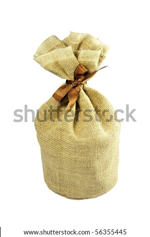 isolated little sack made of brown burlap - stock photo