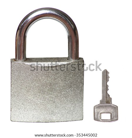 isolated lock and key on a white backgroung - stock photo