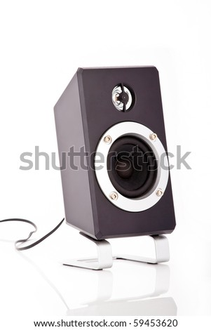 Isolated loud speaker on a stand with a cable - stock photo