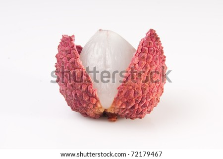 Isolated lychee fruits - pure white background