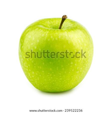 Isolated macro of a green granny smith apple - stock photo