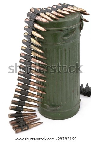 Isolated macro shot of 7.92 mm caliber to German MG34/42 machine gun and  case for gas mask. - stock photo